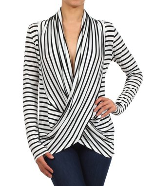White & Black Stripe Surplice Drape Top