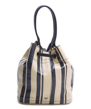 Blue & Parchment Stripe Leather Bucket Bag