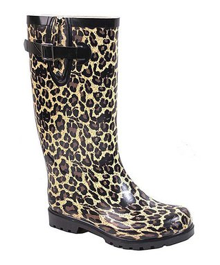 Tan Leopard Puddles Rain Boot