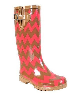 Brown & Coral Chevron Puddles Rain Boot