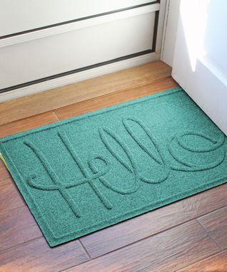 Turquoise 'Hello' Aqua Shield Mat