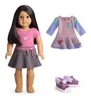Light Skin, Black-Brown Hair, Brown Eye 18'' Doll & Outfit Set