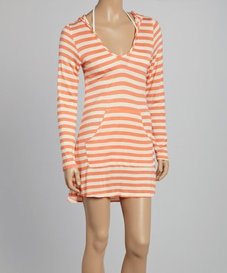 Orange Stripe Hooded Cover-Up