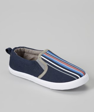 Navy & Black Stripe Slip-On Sneaker