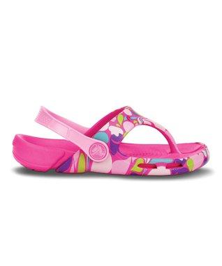Neon Magenta & Carnation Electro Paisley Flip-Flop