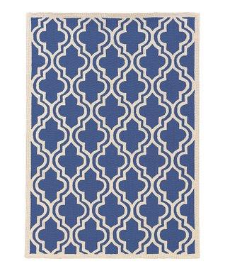 Navy Quatrefoil Silhouette Wool Rug