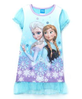 Blue Frozen Ruffle Nightgown - Girls