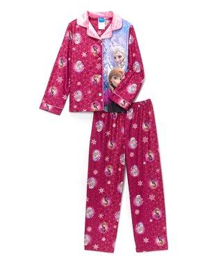 Pink Frozen Panel Button-Up Pajama Set - Girls