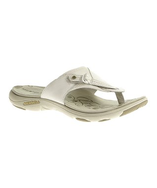 White Grace Leather Flip Flip-Flop
