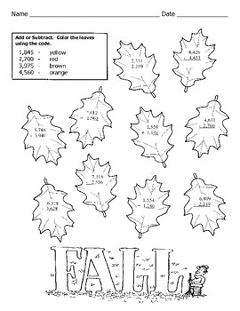 3 Digit Subtraction Color By Number Sketch Coloring Page