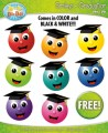 FREE School Graduation Smiley Clipart Set Faces Emotions Clip Art Graphics