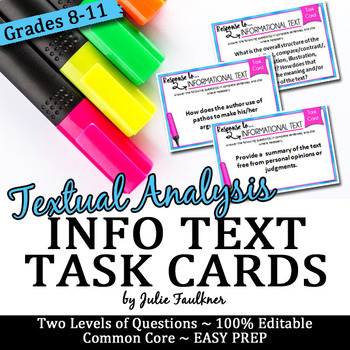 Nonfiction/Info Text Analysis Task Cards for Discussion or