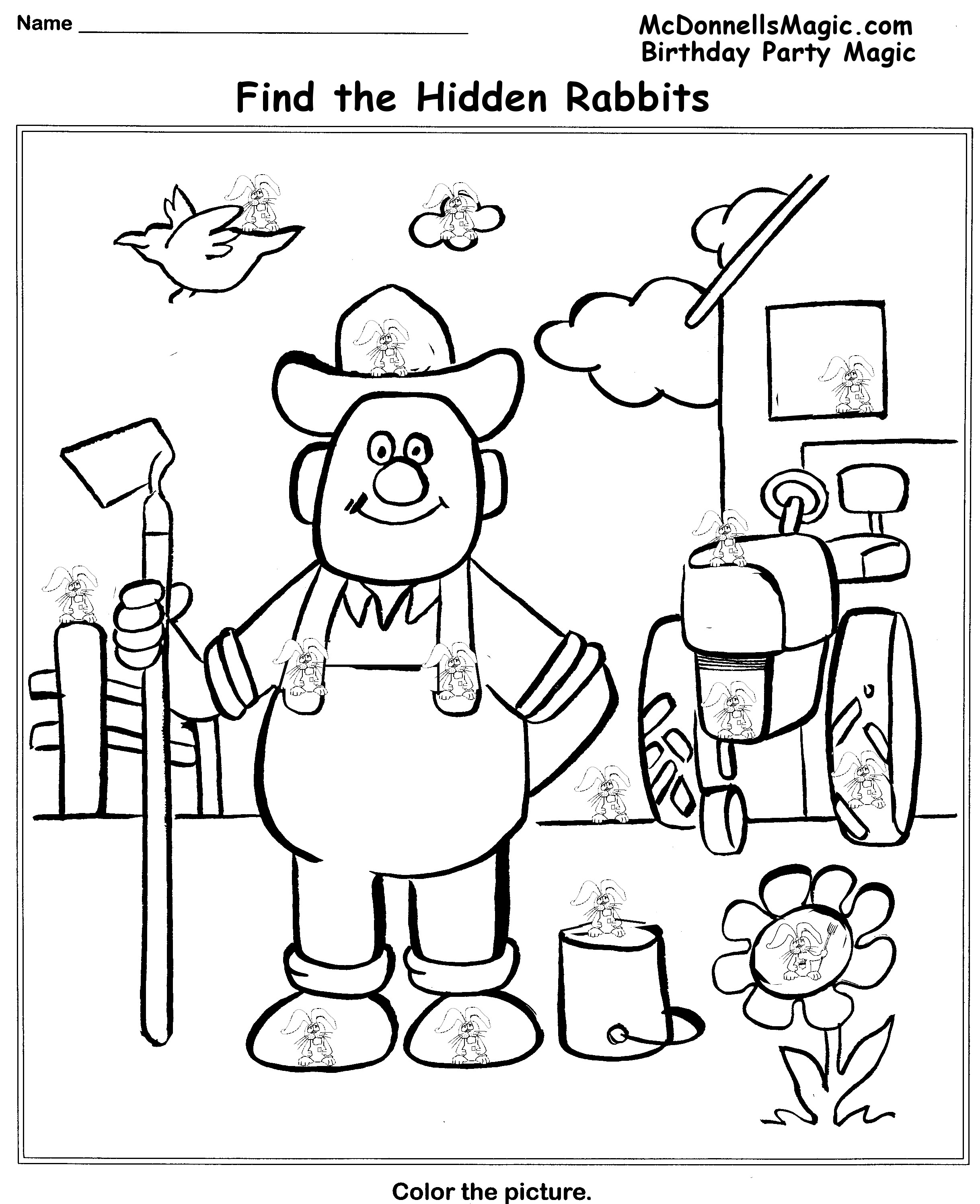 Easy Hidden Picture Coloring Pages