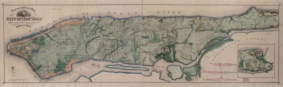 Topographical map of the City of New York : showing original water courses and made land New York : Ferd. Mayer & Co., c1865. Via Library of Congress, Geography and Map Division