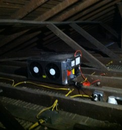 the knob and tube wiring has been completely removed from the attic below is a view of both fans as seen from the attic  [ 2592 x 1936 Pixel ]