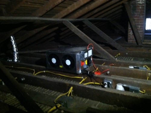 small resolution of the knob and tube wiring has been completely removed from the attic below is a view of both fans as seen from the attic