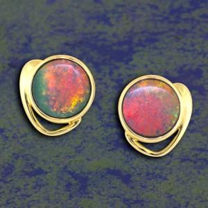 opal earrings set in yellow gold