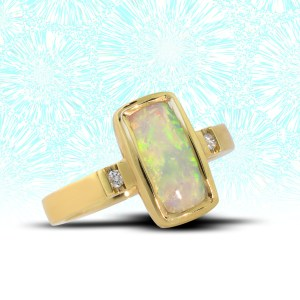 yellow gold opal ring