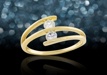 yellow gold and 2 diamond ring