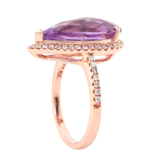 rose gold diamond halo ring with pear shape amethyst - standing up