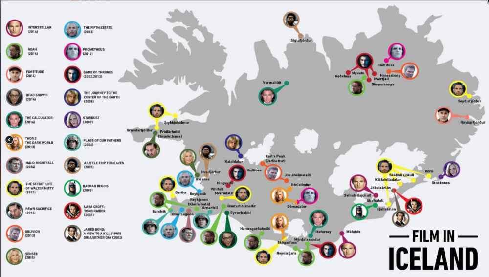 Lieux de tous les tournages en Islande Crédit: https://guidetoiceland.is