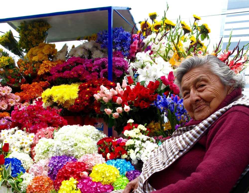 Dame aux fleurs marché Surquillo Lima Pérou