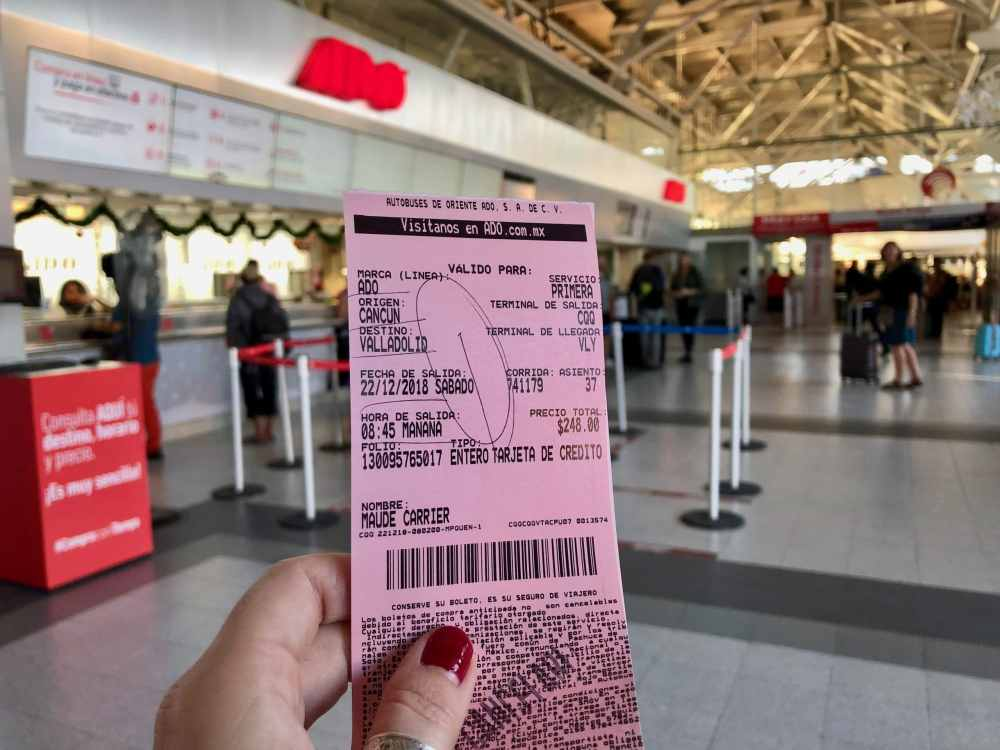 Billet autobus ADO pour aller Valladolid Mexique