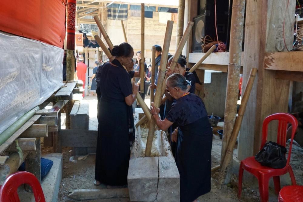Ma'Marakka Des femmes jouent de la musique avec des bambous contre un tronc d'arbre