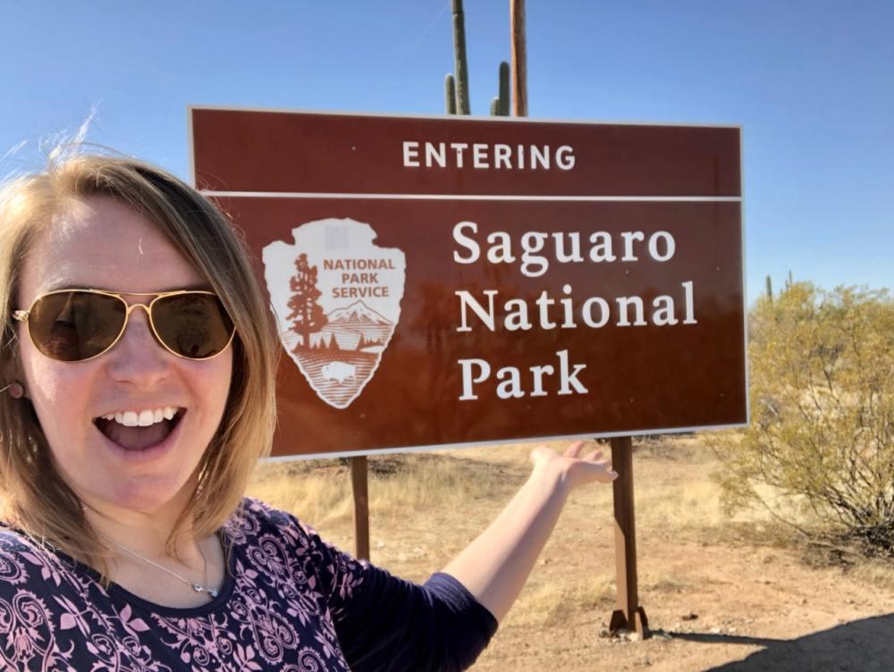 À l'entrée du parc national de Saguaro, Tucson Arizona