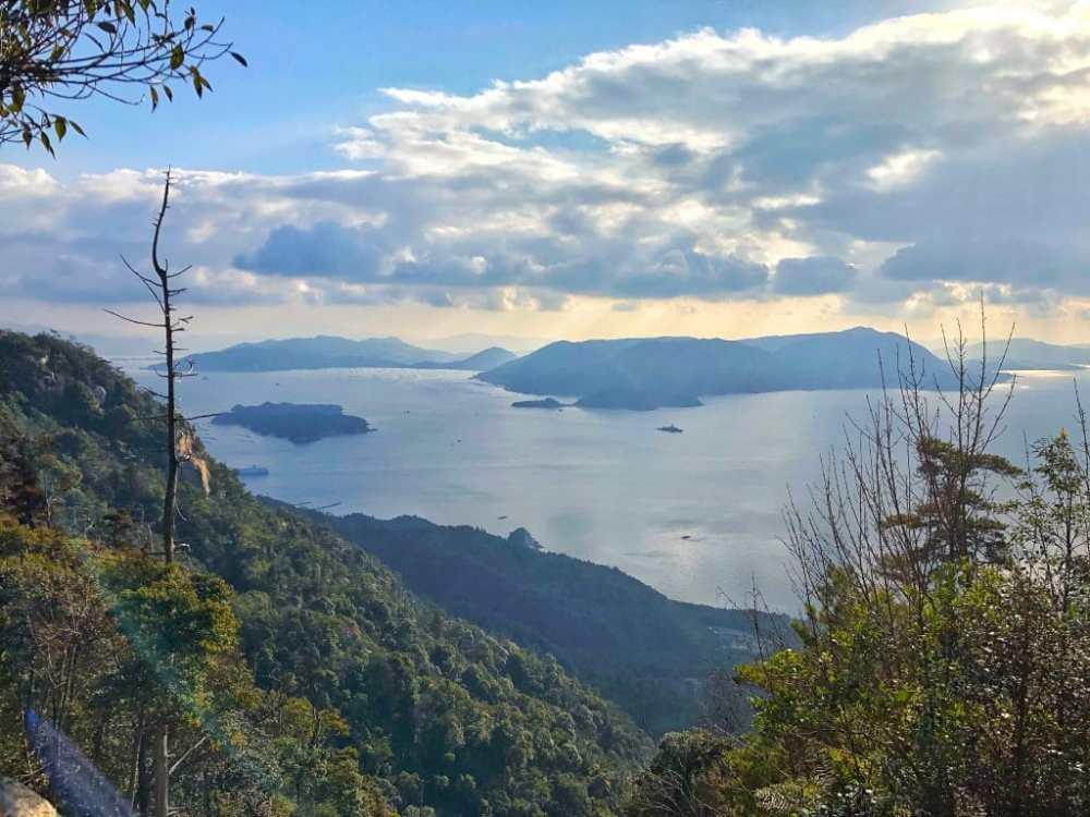 La vue depuis le sommet de l'île à Miyajima Japon