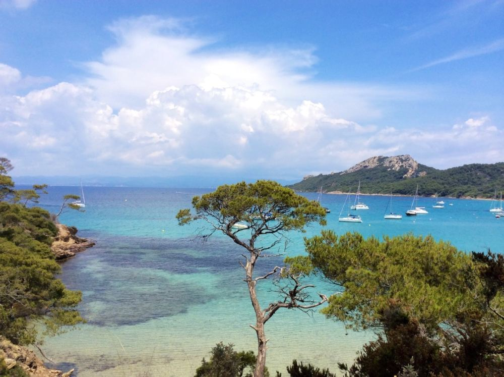 L'eau bleu de l'île de Porquerolles en Provence, France