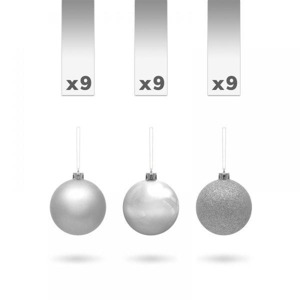 Gömbdísz szett - 3 cm ezüst