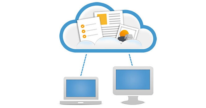 Illustration of computers connecting to cloud hosted storage
