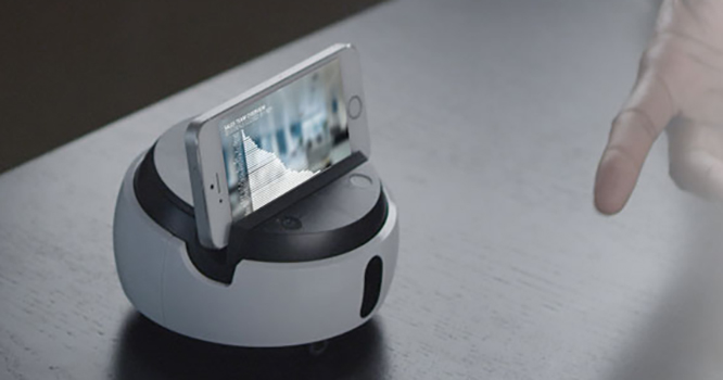 swivl robot used with a phone
