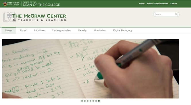screenshot of the new mcgraw center webpage
