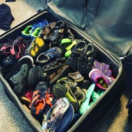 This is an entire large suitcase stuffed with kids' shoes! They were very thankful!