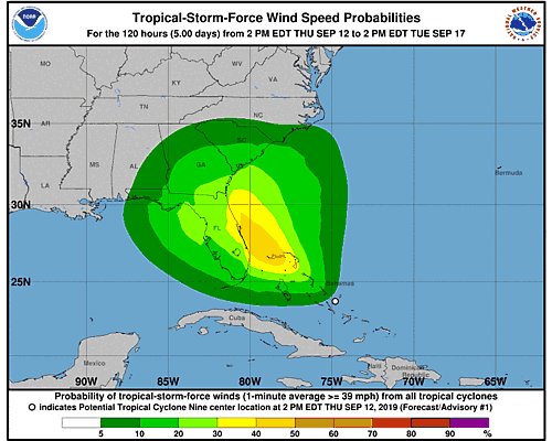 Potential Tropical Cyclone Nine 34-Knot Wind Speed Probabilities