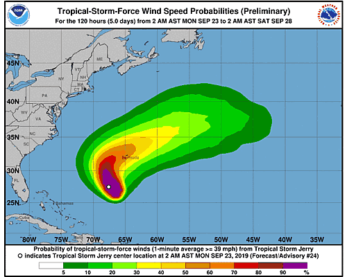 Tropical Storm Jerry 34-Knot Wind Speed Probabilities
