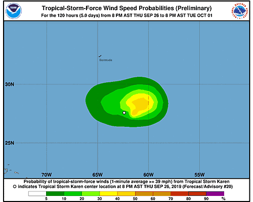 Remnants of Karen 34-Knot Wind Speed Probabilities