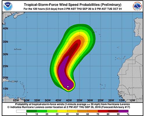 Hurricane Lorenzo 34-Knot Wind Speed Probabilities