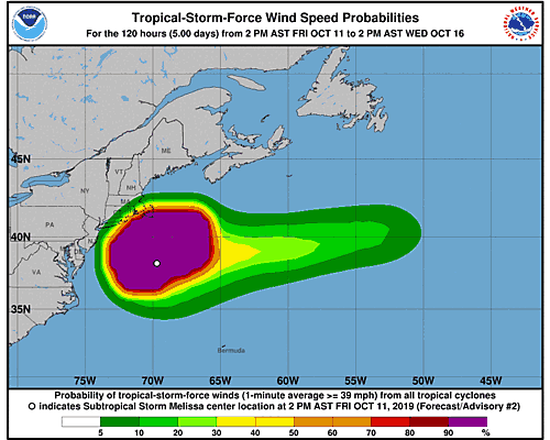 Tropical Storm Melissa 34-Knot Wind Speed Probabilities