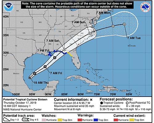 Tropical Storm Nestor 5-Day Uncertainty Track Image