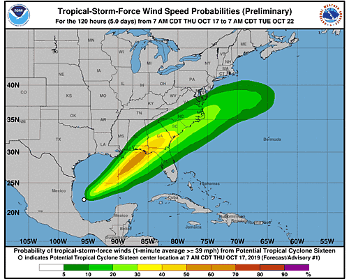 Potential Tropical Cyclone Sixteen 34-Knot Wind Speed Probabilities