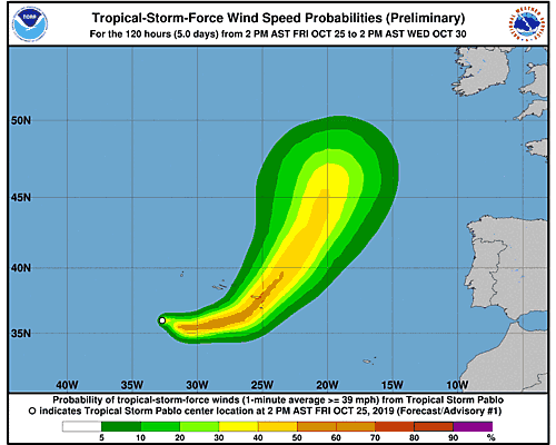 Hurricane Pablo 34-Knot Wind Speed Probabilities
