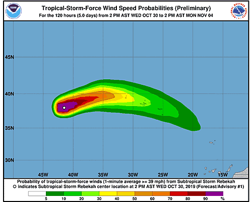 Subtropical Storm Rebekah 34-Knot Wind Speed Probabilities