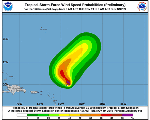 Tropical Storm Sebastien 34-Knot Wind Speed Probabilities