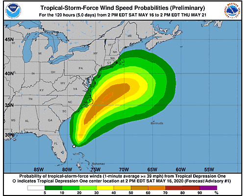 Tropical Storm Arthur 34-Knot Wind Speed Probabilities