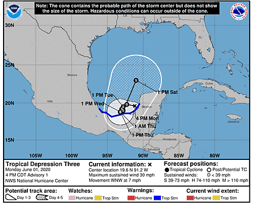 Tropical Depression Cristobal 5-Day Uncertainty Track Image