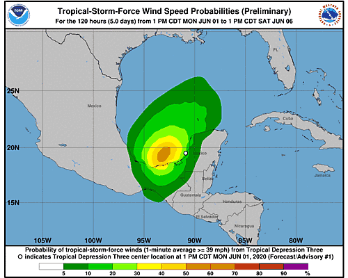Tropical Storm Cristobal 34-Knot Wind Speed Probabilities