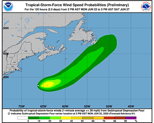 Tropical Depression Dolly 34-Knot Wind Speed Probabilities